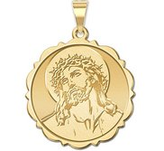 Ecce Homo Scalloped Round Religious Medal  EXCLUSIVE