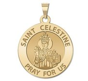 Saint Celestine Round Religious Medal  EXCLUSIVE