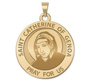Saint Catherine of Genoa Round Religious Medal    EXCLUSIVE