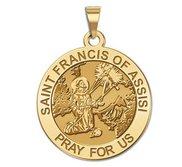 Saint Francis of Assisi Round Religious Medal   Receiving Stigmata  EXCLUSIVE