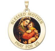 Blessed Mother  Virgin Mary Round Religious Medal   Color EXCLUSIVE