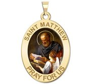 Saint Matthew OVAL Religious Medal   Color EXCLUSIVE