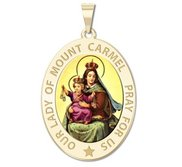 Our Lady of Mount Carmel Religious Medal  OVAL  Color EXCLUSIVE