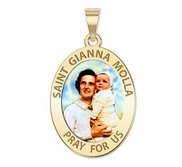 Saint Gianna Beretta Molla Oval Color Religious Medal   EXCLUSIVE