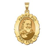 Padre Pio   Scallopped OVAL  EXCLUSIVE