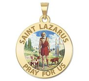 Saint Lazarus Religious Medal  Color EXCLUSIVE