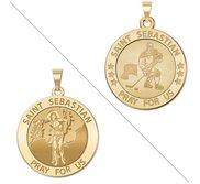 Hockey   Saint Sebastian Doubledside Sports Religious Medal  EXCLUSIVE