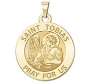 Saint Tobias Round Religious Medal   EXCLUSIVE