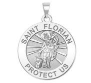 Saint Florian Round Religious Medal   EXCLUSIVE