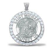 Saint Michael CZ Religious Round Medal    EXCLUSIVE