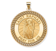 Saint Raphael Round Rope Border Religious Medal