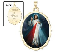 Divine Mercy Double Sided Scalloped Oval Religious Medal  Color EXCLUSIVE