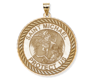 Saint Michael Round Rope Border Religious Medal