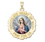Immaculate Heart of Mary Scalloped Color Religious Medal  EXCLUSIVE
