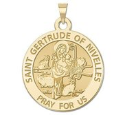 Saint Gertrude of Nivelles Round Religious Medal     EXCLUSIVE