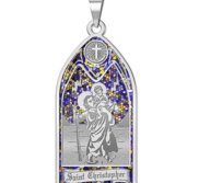 Saint Christopher   Stained Glass Religious Medal  EXCLUSIVE