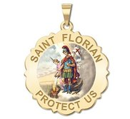 Saint Florian Scalloped Round Religious Medal   Color EXCLUSIVE