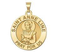 Saint Anne Line Round Religious Medal  EXCLUSIVE