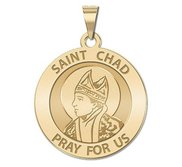 Saint Chad Round Religious Medal    EXCLUSIVE