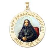 Saint Frances Cabrini Round Religious Medal   Color EXCLUSIVE