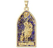 Saint Florian   Stained Glass Religious Medal  EXCLUSIVE