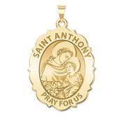 Saint Anthony Scalloped Oval Religious Medal  EXCLUSIVE