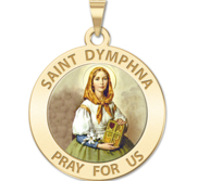 Saint Dymphna Round Religious Medal  Color EXCLUSIVE