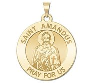 Saint Amandus Round Religious Medal  EXCLUSIVE