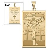 The Crucifixion of Jesus  Doubled Sided Rectangle Religious Medal  EXCLUSIVE