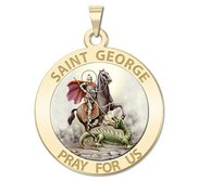 Saint George Round Religious Medal  Color EXCLUSIVE