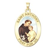 Saint Anthony Oval Religious Medal  Color EXCLUSIVE