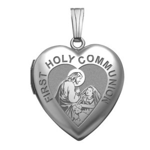 Sterling Silver Heart   Girls Holy Communion   Locket
