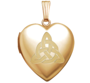 14K Yellow Gold  Sweetheart  Celtic Trinity Locket