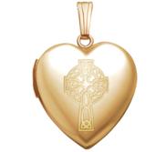 14K Yellow Gold  Sweetheart  Celtic Cross Locket