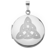 14k White Gold Round Celtic Trinity Locket