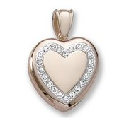 18k Premium Weight Yellow Gold Diamond Heart Wreath Picture Locket