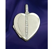 18K White Gold Diamond set Heart Shaped Locket