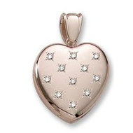 18k Premium Weight Yellow Gold Diamond Heart Locket
