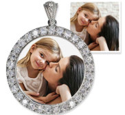 Sterling Silver   CZ Premium Round Photo Pendant