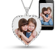 Heart Photo Pendant with Diamond Cut Edge W  18 Inch Chain