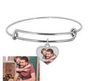 Expandable   Photo Charm Heart Expandable Bracelet