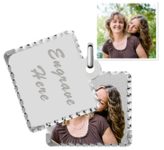Sterling Silver Square Swivel Photo Pendant