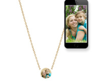 Petite Round Photo Engraved Necklace w  18  Chain