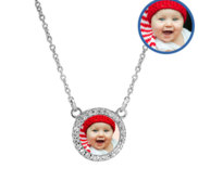 Petite CZ Round Photo Engraved Necklace with 18  Chain