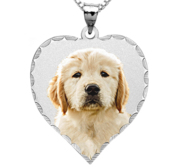 Heart Photo Pendant Charm with Diamond Cut Edge