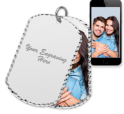 White Gold Dog Tag Swivel Photo Pendant