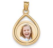 Solid 14k Gold Teardrop Frame Photo Engraved Pendant