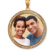 Solid 14k Gold Photo Engraved XL Diamond Pendant