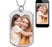 Solid Sterling Silver Large Photo Engraved Dog Tag Photo Pendant