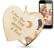 I Love You to the Moon and Back  Heart Swivel Photo Pendant